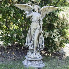 """Garden Angel Figure - 46.5 inches, $599.95. A beautiful addition to any garden! This Classic Angel Garden Figure is from the Joseph's Studio Garden Statuary Collection. Crafted from a mixture of resin and stone. 46.5""""H x 22.5""""W x 15""""D."""