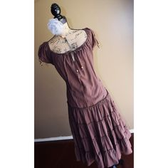 SALE Brown Boho Dress Brown Boho Off-the-Shoulder Dress w/Small Ruffles and beaded accent ties on the chest and cap sleeves. One bead is missing on one of the sleeves. By Setre Per Donna. Size L. Only worn once. Setre Per Donna  Dresses Midi