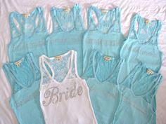 8 Bridesmaid Lace Tank Top. Bride, Maid of Honor, Matron of Honor. Tiffany Blue, Black, White, Purple, Pink, Fuchsia, Coral. $143.60, via Etsy.