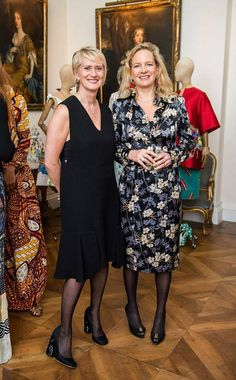 "Mrs Karen Lawrence e Mrs Jane Reeve CEO of the Camera Nazionale della Moda Italiana  during the cocktail organized in the Embassy of Italy in London in honor of Sonnet Stanfill, curator of the exhibition ""The Glamour of Italian Fashion 1945-2014"" held at the V & A Museum in collaboration with the Camera Nazionale della Moda Italiana and Fashion Film Festival.Milano. On this occasion, Mrs Karen wearing a total look Michele Miglionico Haute Couture."
