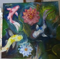 #koi oil paint Koi, Drawings, Painting, Painting Art, Sketch, Paintings, Paint, Draw, Portrait