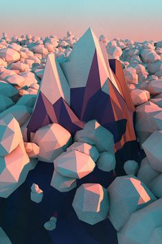 Geo landscape.  the geometric feel to the clouds makes them look like boulders, but i love seeing the color changes on the facets they have
