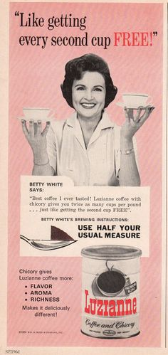 Betty White drinks Luzianne Coffee in 1964