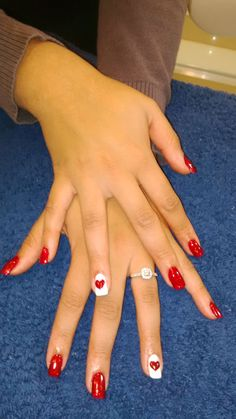 Gorgeous Nail Art at our ManiPedi Claremont Branch. Find us in Cavendish Connect. Red & White Manicure with beautiful romantic hearts to seal the deal. Book an appointment via www.manipedi.co.za