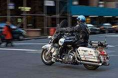NYPD police motorcycle officer on the job.