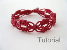 macrame bracelet pattern tutorial pdf tuto jewelry instructions knot diy handmade tutoriel knot easy step by step Christmas how to micro makrame knotonlyknots adjustable red lacy Xmas knotted instant download beginner jewellery  Welcome to my shop.  INSTANT DOWNLOAD PATTERN AND TUTORIAL!  This listing is for an 11 page PDF PATTERN and tutorial, with clear step by step instructions and photos, for a macrame bracelet. You must have Adobe Acrobat Reader installed on your computer to open this…