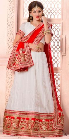 Fluffy White And Red Chiffon Lehenga Choli With Dupatta.