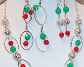 Christmas Silver Loops and Filigree Balls, Red and Green Beaded Jewelry Set