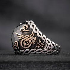 Turkish Islamic Mens Ring TAWHID AS TUGHRA Black by Apaturia
