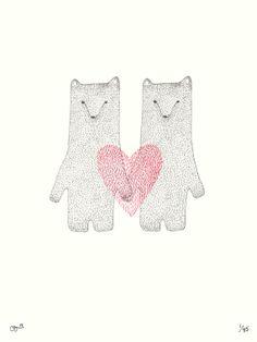Valentine Bears II Print von clairehartigan auf Etsy, $27,00