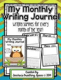 Monthly Writing Journal --- Writing Samples Through The Year Kindergarten Language Arts, Kindergarten Lessons, Kindergarten Writing, Teaching Writing, Literacy, Writing Strategies, Writing Lessons, Writing Ideas, 2nd Grade Writing