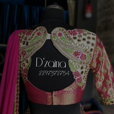 Beautiful bridal designer blouse with floral and mango design hand embroidery gold and pink work. Blouse with kaanjivarm sleeves. South Indian Blouse Designs, Blouse Designs High Neck, Best Blouse Designs, Simple Blouse Designs, Bridal Blouse Designs, Saree Jacket Designs, Pattu Saree Blouse Designs, Maggam Work Designs, Work Blouse