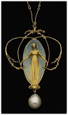'Femme et Feuillage' Pendant René LALIQUE Ca. 1900 gold depiction of a gowned female reaching out to the fine & restrained foliage surround, standing in front of a grey enamel background & over a drop pearl, & hanging from a connected-sticks style chain. Bijoux Art Nouveau, Art Nouveau Jewelry, Jewelry Art, Vintage Jewelry, Fine Jewelry, Jewelry Design, Mode Baroque, Lalique Jewelry, Jugendstil Design