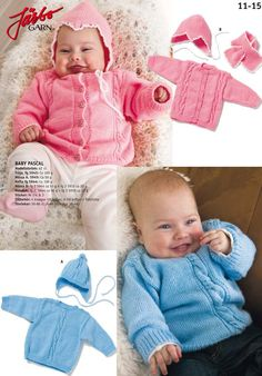 11-15. 2 KLASSISKA BABYSET Baby Cardigan Knitting Pattern Free, Baby Knitting Patterns, Baby Set, Baby Barn, Free Pattern, Crochet Hats, Children, Blog, Handmade