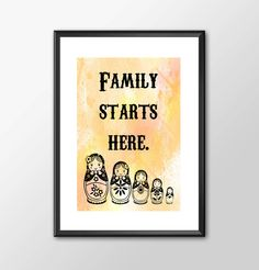 Family Starts Here - A fun kitchen wall print to frame for Mum or New Family - PRINTED by ShamanAlternative on Etsy