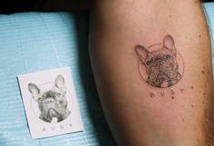 Realistic french bulldog tattoo by mr. K, tattoo artist at Bang Bang NYC Tattoo Bulldog, Tattoo Pitbull, French Bulldog Tattoo, Pug Tattoo, Hip Tattoos Women, Shoulder Tattoos For Women, Tattoos For Guys, Geometric Tattoo Shoulder, Geometric Tattoos Men