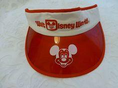 9dc56f82963 Original Vintage 1970 S Rare Walt Disney World Mickey Mouse SUN Visor RED  White
