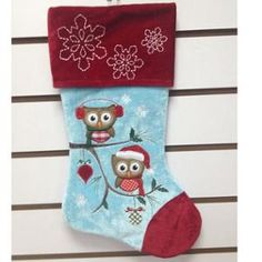 "18"" Red and Blue Owl Applique Velvet Christmas Stocking"