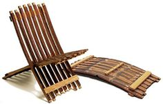 I've made chairs from old fence boards. Use barrel staves for a built in curve! Wine Barrel Chairs, Wine Barrel Furniture, Wine Barrels, Repurposed Furniture, Diy Furniture, Outdoor Furniture, Barrel Projects, Diy Projects, Old Fence Boards