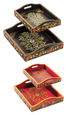Set of 2 handpainted wood indian trays >			Furniture And Accessories > 			Gifts > 			Namaste Home Page > 		Namaste-UK Ltd