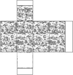 Boîte Toile de Jouy grise création Pascale Appiani