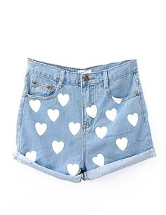Short denim tiro alto estampado corazones-Azul claro EUR15.37