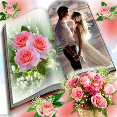 Wedding Frames, Wedding Photos, Photo Maker, Book And Frame, Collage Book, Background Images For Editing, Happy Birthday Pictures, Rose Images, Romantic Couples