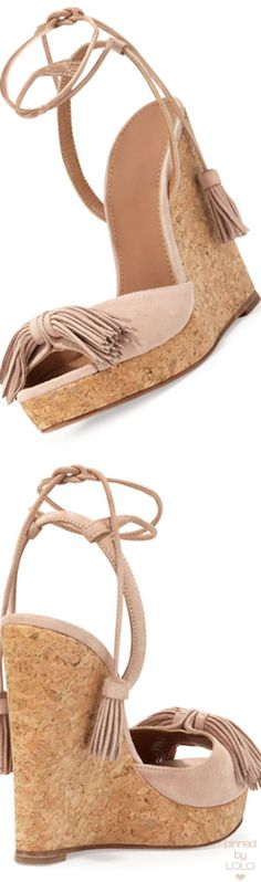 Aquazzura Wild One Tassel Wedge Sandal | LOLO❤︎