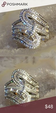 Women's ring Big bold and beautiful Natural gemstone white sapphire multi-level ring 925 sterling silver can also get it in other sizes but will have to order upon request Jewelry Rings