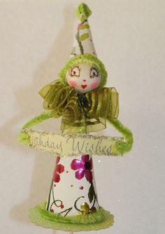 Spun Cotton Vintage Craft Birthday Clown Ornament Cake by jejemae, $22.00