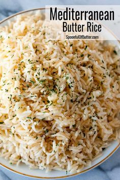 Mediterranean Butter Rice - goes well with anything, from pork chops, steaks, fish, kebobs, souvlakis, sausages or anything grilled or fried. It has just the right hint of butter and flavor from the… More Fish Dinner, Dinner Sides, Dinner Menu, Sides For Pork Chops, Rice Side Dishes, Pork Chop Side Dishes, Side Dishes For Ribs, Rice On The Stove, Quinoa