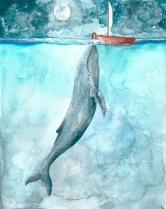 This is such an amazing and tender illustration! Heart of the Sea - watercolor illustration print - Whale ocean nightsky boat girl moon nautical ocean themed watercolor print Art And Illustration, Watercolor Illustration Children, Girl Illustrations, Watercolor Print, Watercolor Paintings, Watercolor Ocean, Gouache Painting, Ocean Paintings, Simple Watercolor