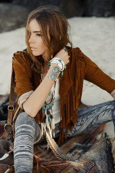 fringe jacket, native jewelry, western style