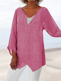 Cotton Blend Casual Slit Sleeve Blouses – Toni Fulg Cotton Blend Casual Slit Sleeve Blouses Size Chart Size Chart Bust Length Shoulder cm inch cm inch cm inch S 92 63 47 M 96 64 48 L 100 65 4 Plus Size Shirts, Plus Size Blouses, Half Sleeves, Types Of Sleeves, Holiday Blouses, Plus Size Casual, Casual Tops, Short Sleeve Blouse, Long Sleeve
