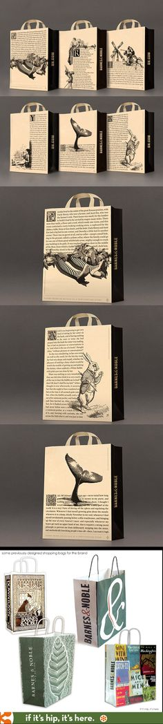 packaging for Barnes & Noble focuses on the first page of classic books combined with character illustrations.New packaging for Barnes & Noble focuses on the first page of classic books combined with character illustrations. Design Graphique, Art Graphique, Graphisches Design, Book Design, Packaging Design Inspiration, Graphic Design Inspiration, Typography Design, Branding Design, Shopping Bag Design