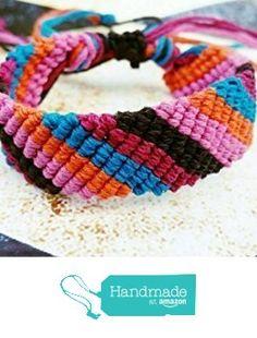 Adjustable Boho Hemp Bracelet, Pink Orange Aquamarine Magenta & Black Striped Friendship Hemp Bracelet, Macrame from Wartick Ravels Hemp Jewelry