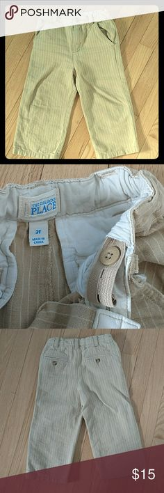 CHILDREN'S PLACE 3T Linen pants 55% linen 45% cotton.  Gorgeous tan and cream pinstriped dress pants with adjustable waistband.  I can't find any sign of wear and these have been worn quite a bit by my boys.  Great brand!  Cross posted. Children's Place Bottoms