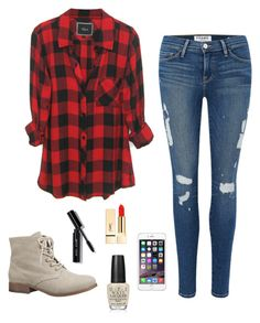 checkered by krnewly on Polyvore featuring polyvore, fashion, style, Frame Denim, maurices, Bobbi Brown Cosmetics, PUR, OPI and clothing