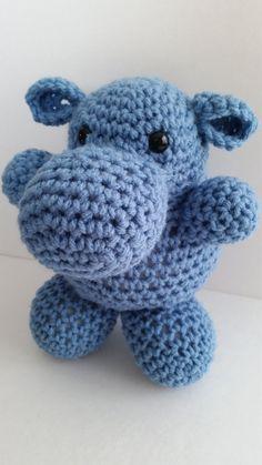 HIPPO Crochet toy stuffed SOFT blue  toddler baby by Marschmellows