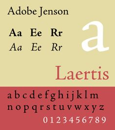 "Adobe Jenson, based on the work of Nicholas Jenson. Venetian old-style: small ""a"" counter and slanted ""e"" bar."