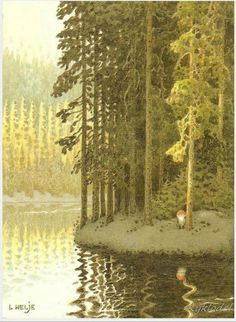 Lennart Helje Scandinavian Art, Christmas Elf, Magical Creatures, Christmas Illustration, Children's Book Illustration, Forest Illustration, Book Illustrations, Kobold, Tree Art