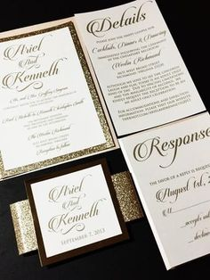 This listing is for a sample of a layered wedding invitation with a glitter cardstock backing enclosed with a glitter belly band and a foil tag embellishment. Please note the sample can not be customi