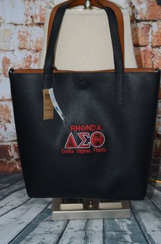 8250318a16c9 Delta Sigma Theta Sorority Personalize Handbag - Monogrammed Embroidery  Faux Leather Tote - Magnetic Closure bag