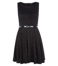 AX Paris Black Flocked Belted Skater Dress