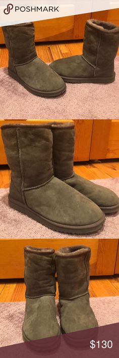 UGG Boots (short grey) Grey short UGG Boots worn once! Small indent on right rubber sole UGG Shoes Winter & Rain Boots