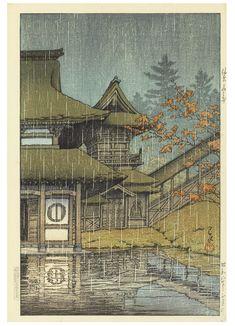 Kawase Hasui (1883-1957) | Sendai Yamadera (Mountain temple, Sendai), from the series Nihon fukei shu higashi Nihon hen (Collection of scenic views of Japan: Eastern Japan), 1933.3 Chihan no ame (Matsue) (Lakeside shower [Matsue]), 1932.2 Shinobazu no ike no ame (Rain at Shonobazu Pond), from the series Tokyo nijukkei (Twenty views of Tokyo), [first published 1929] | 1930s, Prints & Multiples | Christie's