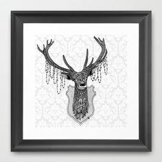 Ornate Deer Framed Art Print