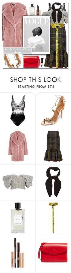 """How to Style a Pink Faux Fur Coat with a Plaid Skirt for Strolling Through the Jardin du Luxembourg in Paris"" by outfitsfortravel ❤ liked on Polyvore featuring STELLA McCARTNEY, Aquazzura, Topshop, Stella Jean, Jonathan Simkhai, Chloé, Van Cleef & Arpels, Off-White, Charlotte Tilbury and VereVerto"