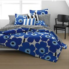 Do you LIKE? Marimekko Unikko True Blue Duvet Cover and Comforter Sets.  http://www.beddingstyle.com/products/Unikko_true_blue_duvet_cover_and_comforter_sets.asp