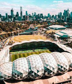 ☑️☑️☑️☑️☑️☑️ Stadium Architecture, Sports Stadium, Melbourne Australia, Buildings, Park, Travel, Beautiful, Viajes, Parks